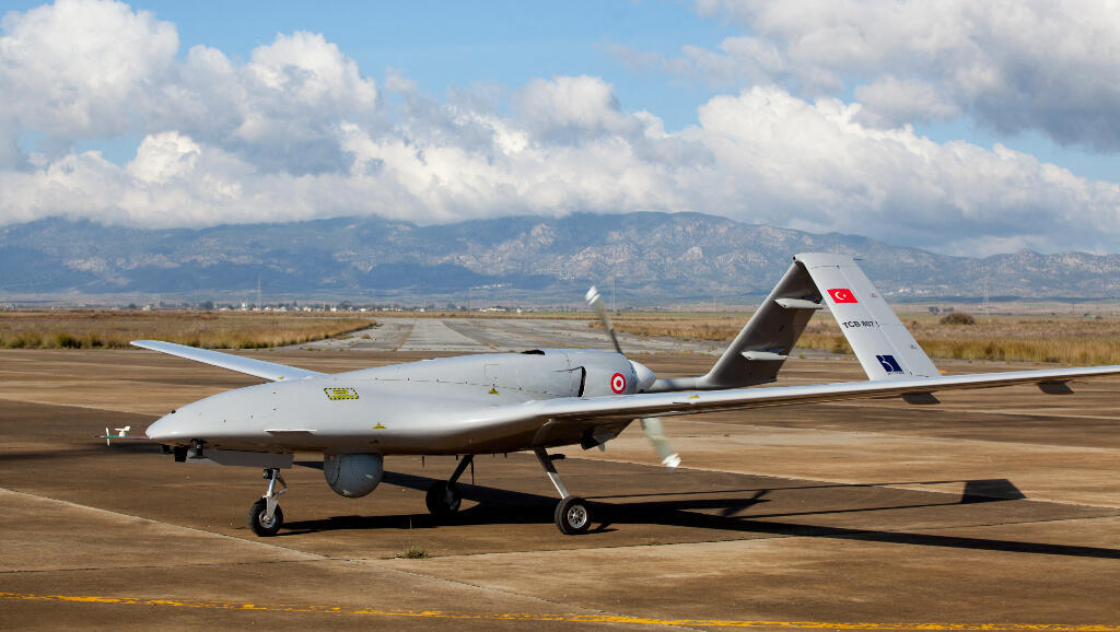 The Turkish-made Bayraktar TB2 drone is displayed on December 16, 2019 at the Gecitkale military air base near Famagusta in the self-proclaimed Turkish Republic of Northern Cyprus.