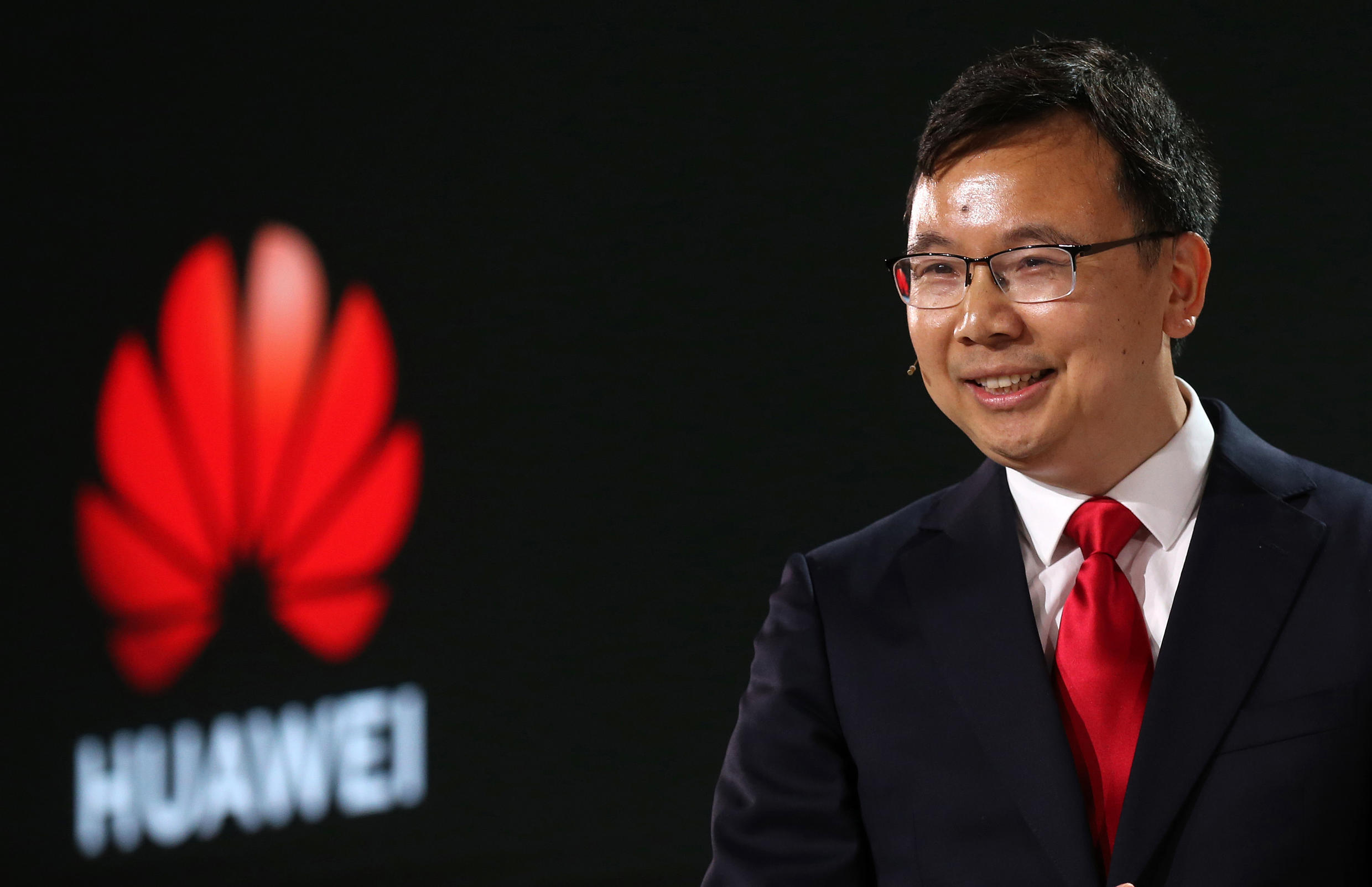 (FILE PHOTO) President of Chinese electronics giant Huawei, Yang Chaobin, in London on February 20, 2020.