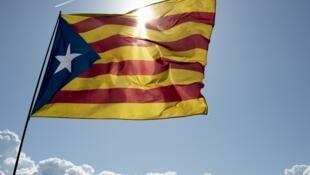 Le drapeau des indépendantistes catalans lors d'une manifestation des séparatistes, le 8 septembre 2016.