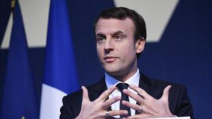 Emmanuel Macron, jeudi 2 mars 2017, au Pavillon Gabriel, lors de la présentation de son programme pour l'élection présidentielle.