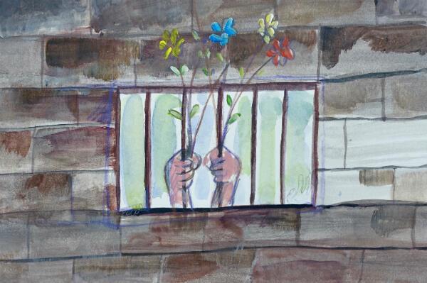 Des mains accrochées aux barreaux d'une cellule de prison, par Muhammad Ansi.