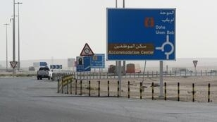 A general view of the road near the Qatari side of the Abu Samrah border crossing with Saudi Arabia on June 23, 2017