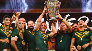 Australian celebrate victory in the 2017 Rugby League World Cup final