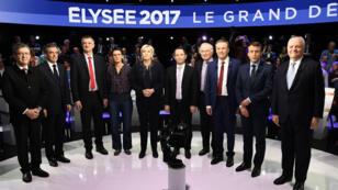 Les 11 candidats à l'élection présidentielle ont débattu pendant quatre heures, mardi 4 avril 2017.