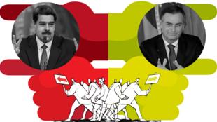 Inforgrafía con una imagen del presidente brasilero, Jair Bolsonaro, (derecha) y otra del presidente venezolano, Nicolás Maduro, (izquierda).