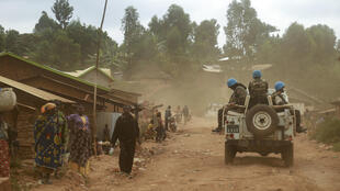 Soldiers from the UN's Monusco mission pictured on March 13, 2020 in the violence-torn Djugu territory of Ituri province, in eastern DR Congo.
