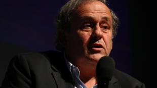 Le Français Michel Platini en conférence le 22 novembre 2019 à Nice