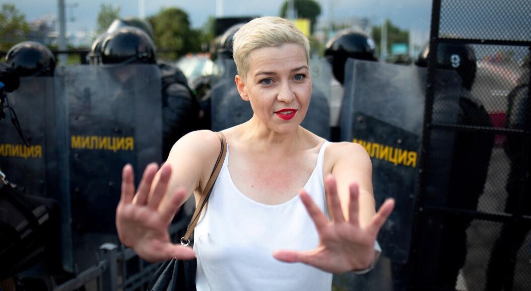 Archivo-La líder opositora María Kolesnikova, en una manifestación antigubernamental, en Minsk, Belarús, el 30 de agosto de 2020.