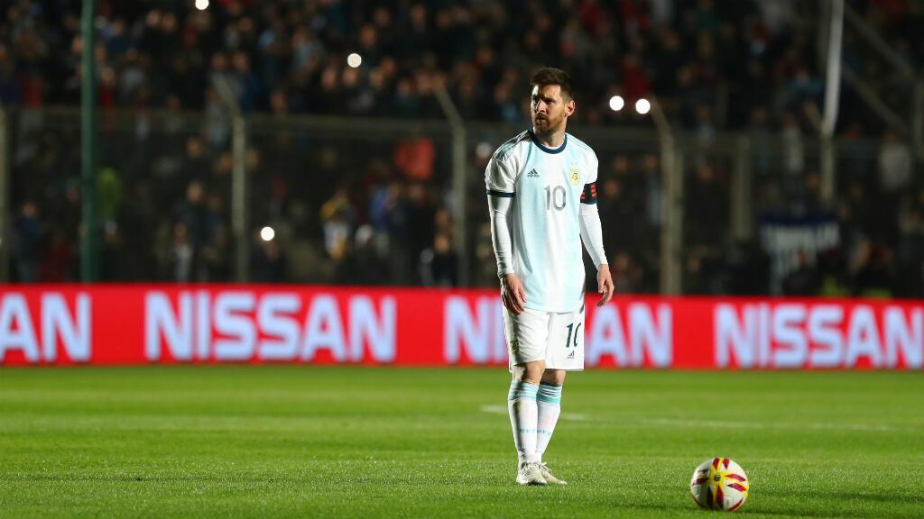 Messi durante el partido amistoso en el que goleó 5-0 a Nicaragua en el Estadio Bicentenario de San Juan, en Argentina el 7 de junio de 2019.