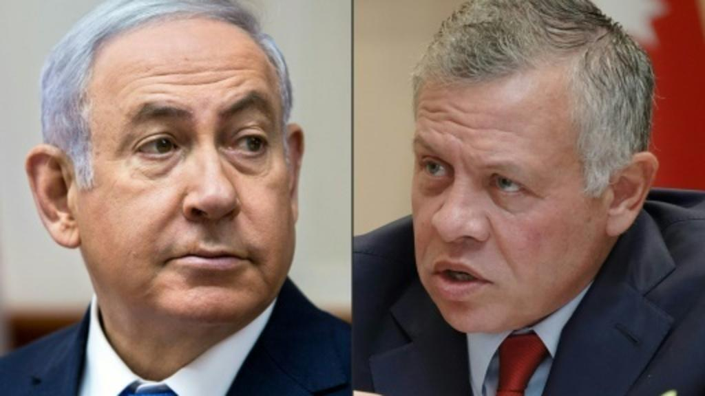 صورة مركبة للعاهل الأردني الملك عبد الله (يمين) ورئيس الوزراء الإسرائيلي بنيامين نتانياهو (يسار)