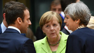Emmanuel Macron, Angela Merkel et Theresa May.