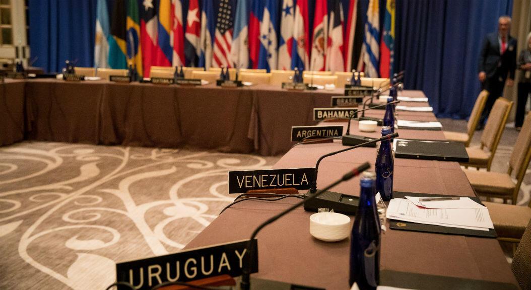 Fotografía antes de una reunión de Ministros de Relaciones Exteriores de los Estados miembros del Tratado Interamericano de Asistencia Recíproca (TIAR) en el Hotel Lotte New York Palace en Nueva York, EE. UU., el 23 de septiembre de 2019.