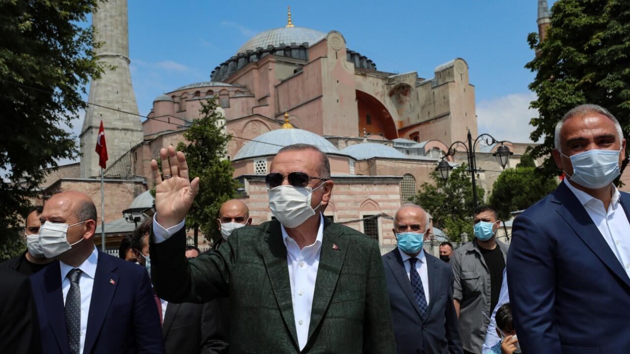 زيارة الرئيس التركي رجب طيب أردوغان الأحد 19 يوليو/تموز لآيا صوفيا.