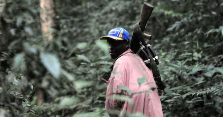 A member of the FDLR walks through dense forest in North Kivu in February 2009. Photo © Lionel Healing, AFP.