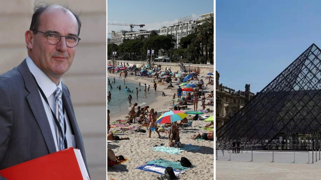 New French Prime Minister Jean Castex; Beachgoers in Cannes, France, on July 8, 2020; and the Louvre museum in Paris, which reopened to the public on July 6, 2020.