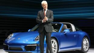 Matthias Müller au salon international de l'automobile d'Amérique du Nord, à Detroit le 13 janvier 2014.