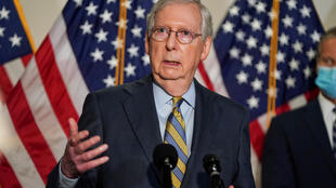 Senate Majority Leader Mitch McConnell (R-KY) speaks to the media after the Republican policy luncheon on Capitol Hill in Washington, U.S., September 22, 2020.