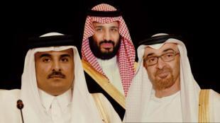 ولي عهد أبو ظبي محمد بن زايد، ولي العهد السعودي محمد بن سلمان وأمير قطر تميم بن حمد.