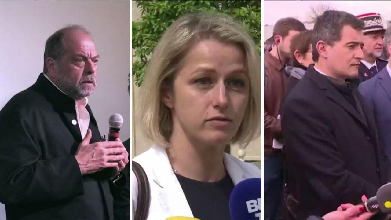 من اليمين إلى اليسار دارمانين وزير الداخلية، بومبيلي وزيرة البيئة ودوبون موريتي وزير العدل