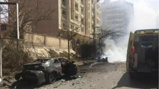 À Alexandrie, le 24 mars 2018, peu après l'attentat visant le chef de la sécurité de la ville.