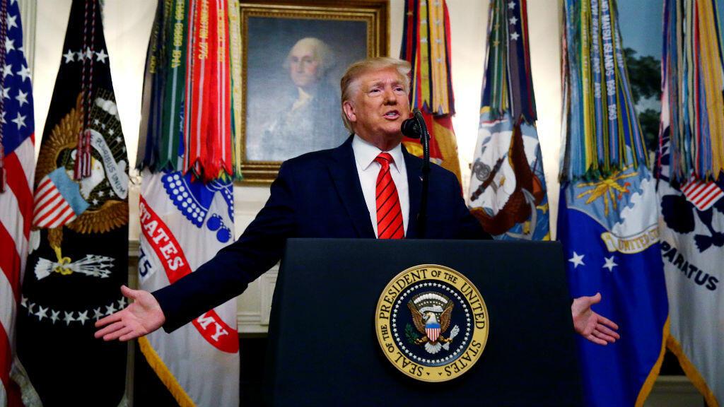 El presidente de Estados Unidos, Donald Trump, anuncia en la Casa Blanca la muerte del líder del grupo Estado Islámico, Abu Bakr al-Baghdadi, en el norte de Siria, en Washington, EE. UU., el 27 de octubre de 2019.