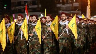 Des combattants du Hezbollah libanais, le 31 mai 2019, à Beyrouth.