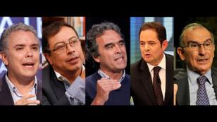 De izquierda a derecha: Iván Duque, Gustavo Petro, Sergio Fajardo, Germán Vargas Lleras y Humberto De La Calle.
