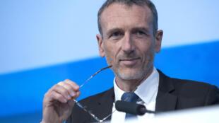 Le PDG de Danone, Emmanuel Faber, lors d'une assemblée générale du groupe à Paris, le 26 avril 2018