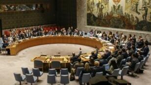 مجلس الأمن الدولي خلال تصويته على العقوبات ضد كوريا الشمالية اا أيلول/سبتمبر 2017