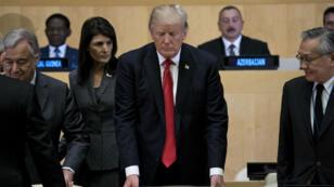 Donald Trump prend place à la réunion de l'ONU, le 18 septembre 2017, à New York.