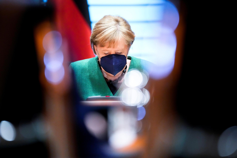 La chancelière allemande, Angela Merkel, lors d'un conseil des ministres à Berlin, le 26 mai 2021.