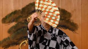 L'artiste japonais Kennosuke Nakamori lors d'une répétition de nô le 29 juillet 2020