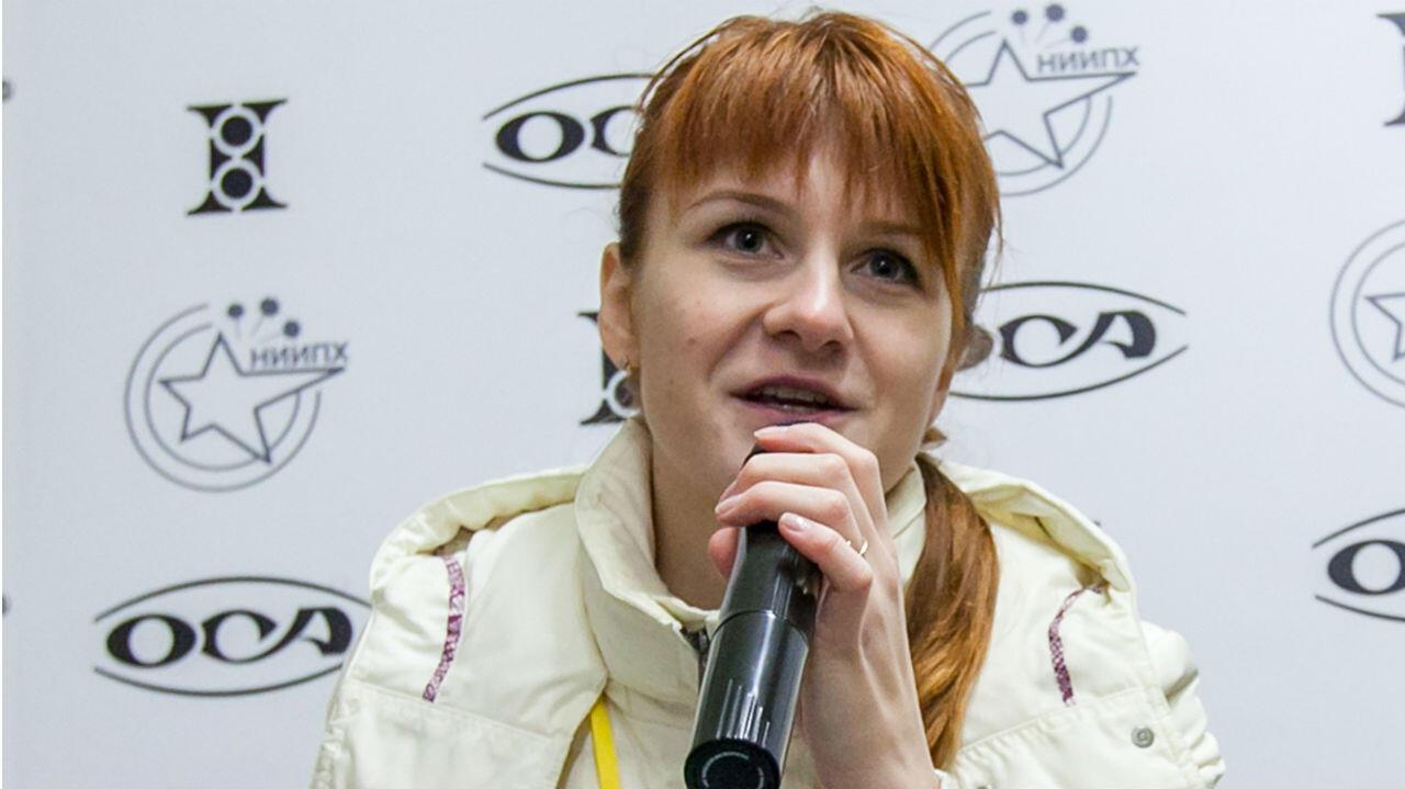 María Butina durante una conferencia en Moscú. Archivo.