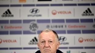 Le président de l'Olympique lyonnais, Jean-Michel Aulas, en conférence de presse à Décines-Charpieu, le 13 février 2020