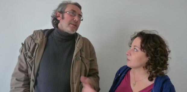 Amira Bouraoui et le journaliste Moustapha Ben Fadel