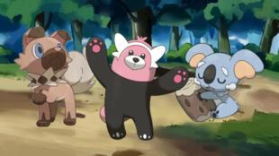 De droite à gauche, les nouveaux Pokémons Rocabot, Chelours et Dodoala.