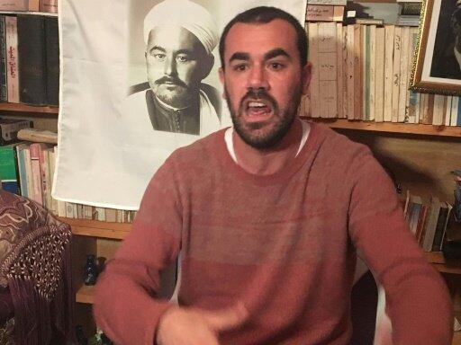 ناصر الزفزافي زعيم الحراك في شمال المغرب في الحسيمة 28 نيسان/أبريل 2017