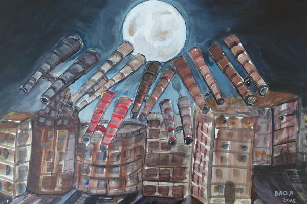 Des télescopes observant la Super Moon, par Ahmed Rabbani.