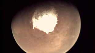 Vista del planeta Marte visto por la cámara web en el orbitador Mars Express de la Agencia Espacial Europea (ESA), el 16 de octubre de 2016