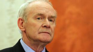 Martin McGuinness lors d'une conférence de presse à Belfast, le 23 janvier 2017.