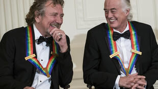 Robert Plant (left) and Jimmy Page of Led Zeppelin at the White House in 2012