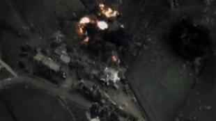 Image satellite d'une frappe menée par l'aviation russe, le 30 septembre en Syrie.