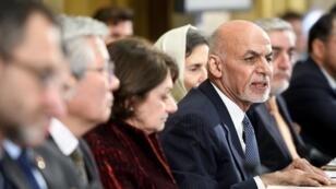 الرئيس الأفغاني أشرف غني خلال مشاركته في مؤتمر للأمم المتحدة بجنيف حول أفغانستان. 28 نوفمبر/تشرين الثاني 2018