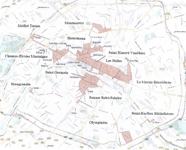 "MAP SHOWING THE ""INTERNATIONAL TOURIST ZONES"" IN PARIS"