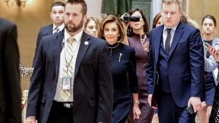 House Speaker Nancy Pelosi (D-CA) walks through Statuary Hall prior to votes in the US House of Representatives on two articles of impeachment against US President Donald Trump on Capitol Hill in Washington, USA, December 18, 2019.