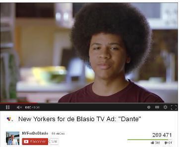 Dante de Blasio sur une vidéo de campagne de son père