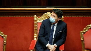 Italian Prime Minister Giuseppe Conte attends a debate ahead of a confidence vote at the upper house of parliament after former Prime Minister Matteo Renzi pulled his party out of government, in Rome, Italy, January 19, 2021.