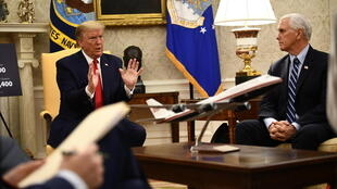US President Donald Trump and US Vice President Mike Pence are never seen wearing masks while greeting visitors in the White House