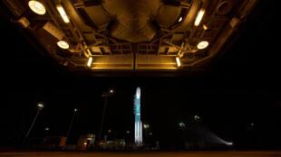 El cohete Delta II de United Launch Alliance (ULA) y el Ice, Cloud y Land Elevation Satellite-2 (ICESat-2) a bordo, antes del lanzamiento en Vandenberg Air Force Base, California, EE. UU., el 15 de septiembre de 2018.
