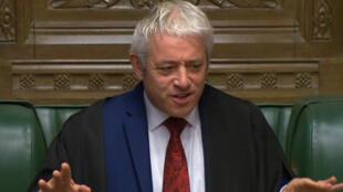 Le président de la Chambre des communes britannique, John Bercow, au palais de Westminster à Londres, le 19octobre2019.